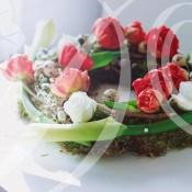 ghirlanda Pasqua tulipani rossi